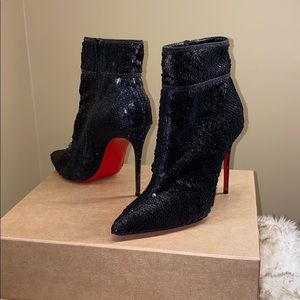 {Christian Louboutin} Black Sequin Boots